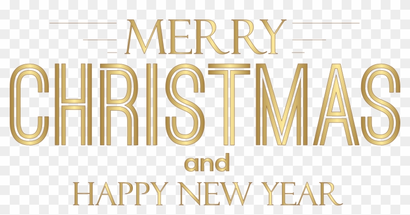 Merry Christmas And Happy New Year Text Png Clip Art - Merry