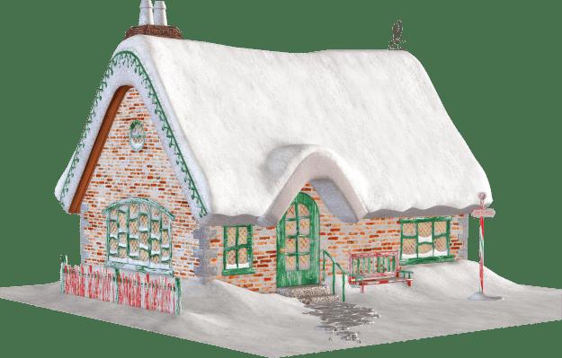 Santa's cottage christmas clipart