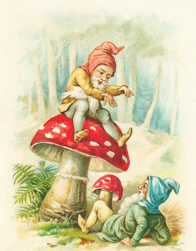 Elves on Mushroom Clipart