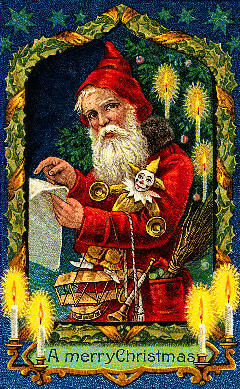 Vintage Santa Clipart with List