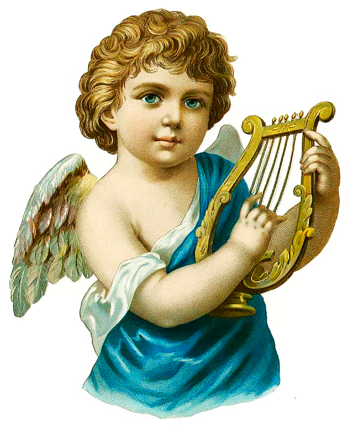 Free Vintage Angel With Harp Clipart. Click the image to view and download the full-size version.