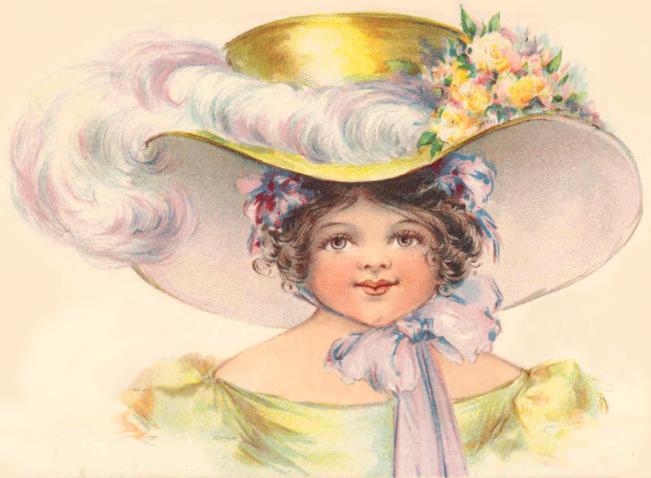 Free Vintage Girl In Big Hat