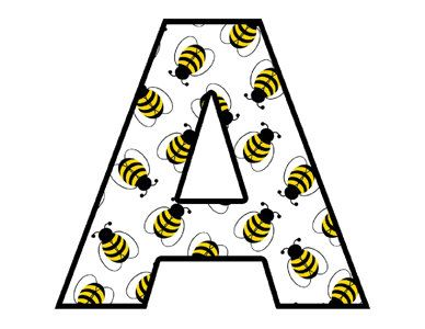 Bee Alphabet Letters Wall Decals Decor Baby Nursery Kids