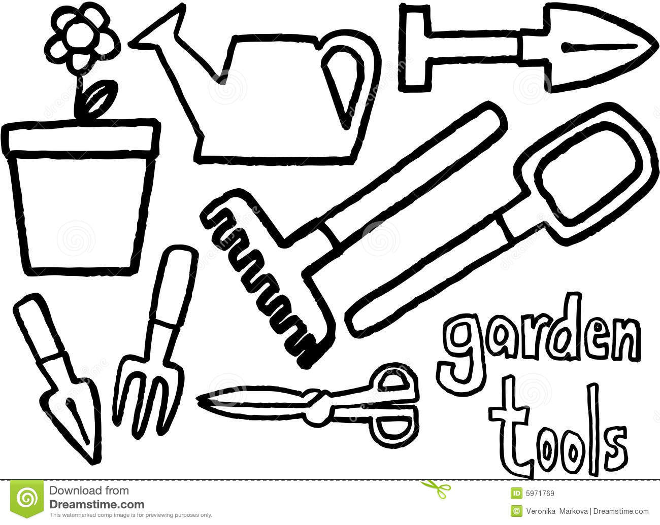 Free printable coloring pages gardens -  Garden Tools Coloring Page Free Printable Coloring Pages Download