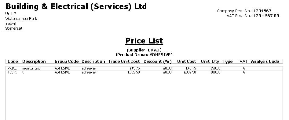 Construction Industry Accounts (CIA) Software reports - price list sample