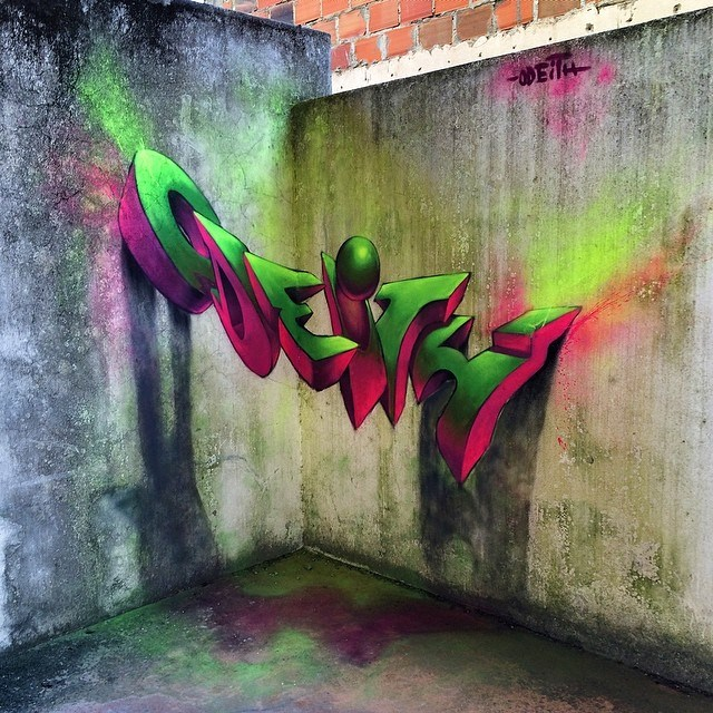 Insane 3d graffiti murals by odeith clique vodka for 3d mural art