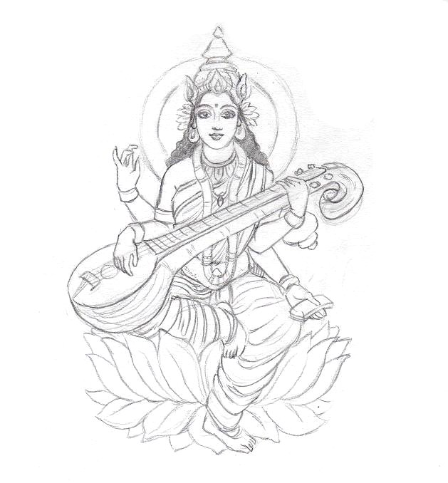 God Mahalakshmi Hd Wallpapers Saraswati Sketch By Coconutpocky Free Images At Clker