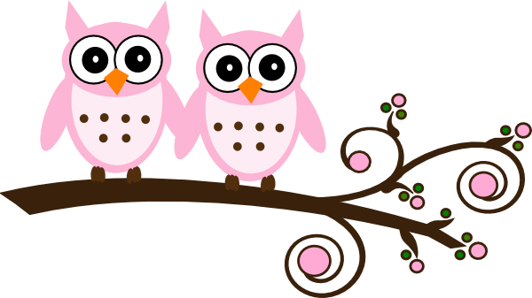 Baby Girl Wallpaper Borders Pink And Purple Twin Pink Owls On Branch Clip Art At Clker Com Vector