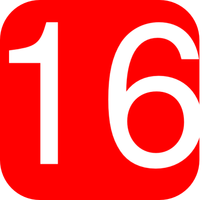 Red, Rounded, Square With Number 16 Clip Art at Clker.com - vector clip art online, royalty free ...