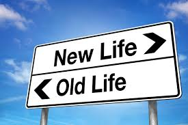Street Sign saying Old Life and New Life with arrows