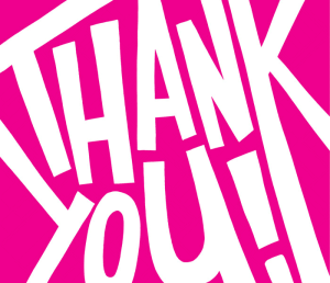 Thank You In Bold Writing and Pink background