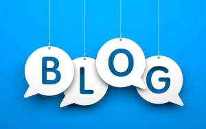 Blog in white speech bubbles on a blue background