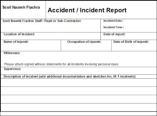 accident book template datariouruguay - Accident Report Template