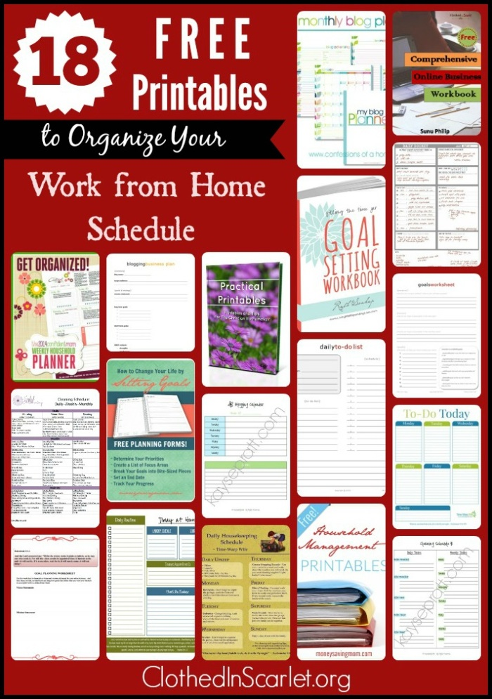 18 Free Printables to Organize Your Work from Home Schedule