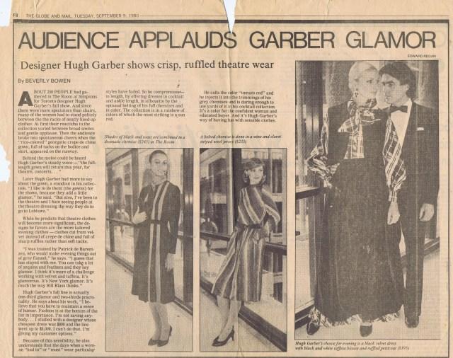 HUGH GARBER GLOBE AND MAIL SEPTEMBER 1980 HGA