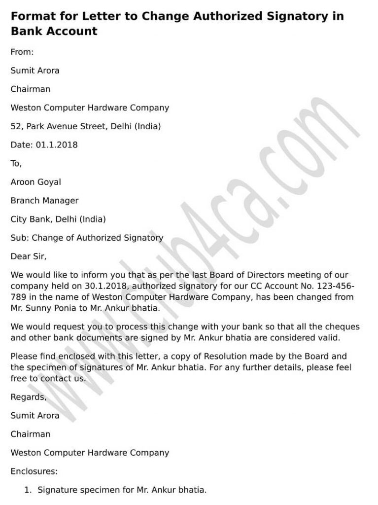 Board Resolution Letter Sample for Removal of Authorised Signatory