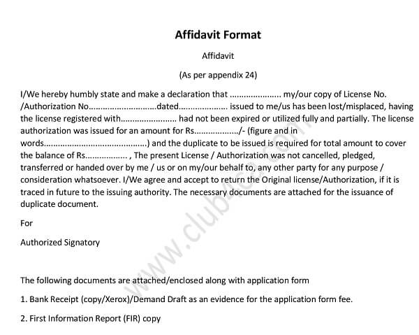 Download Format of Affidavit with the Application for the Issue of - affidavit formats