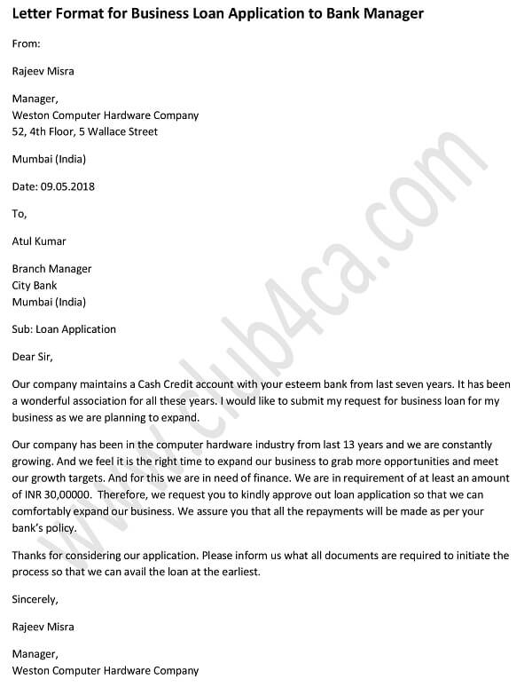 Application Letter for Business Loan to Bank Manager