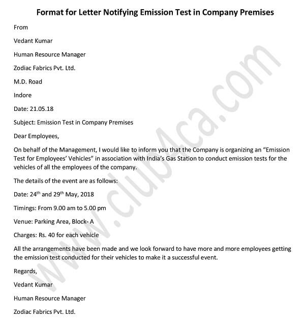Letter to Notify Employees of Emission Test in Company Campus