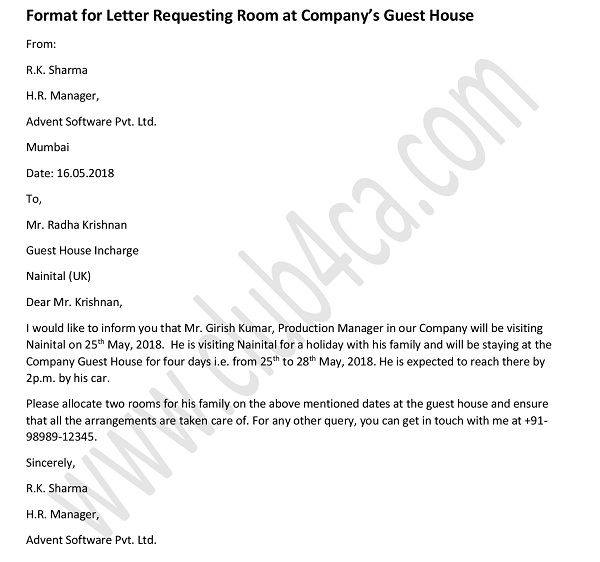 Formal Letter to Request A Room in Company\u0027s Guest House
