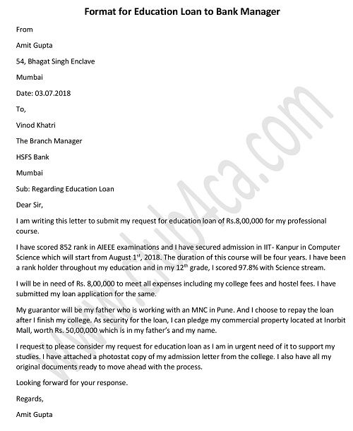 Letter to Bank Manager for Education Loan Application Student Loan