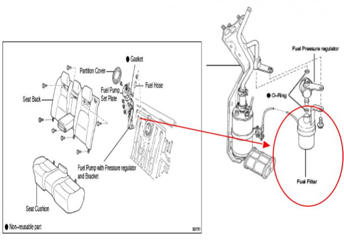 location of fuel filter on 2009 toyota camry