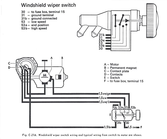 1967 vw beetle wiper motor wiring diagram