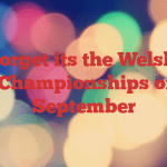 Don't forget its the Welsh Laser Open Championships on 10th September