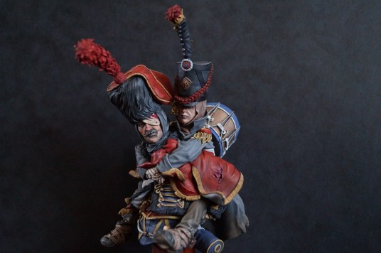 Painted 'French Hussar Carrying Drummer Boy' (200mm) by Rich Bailey