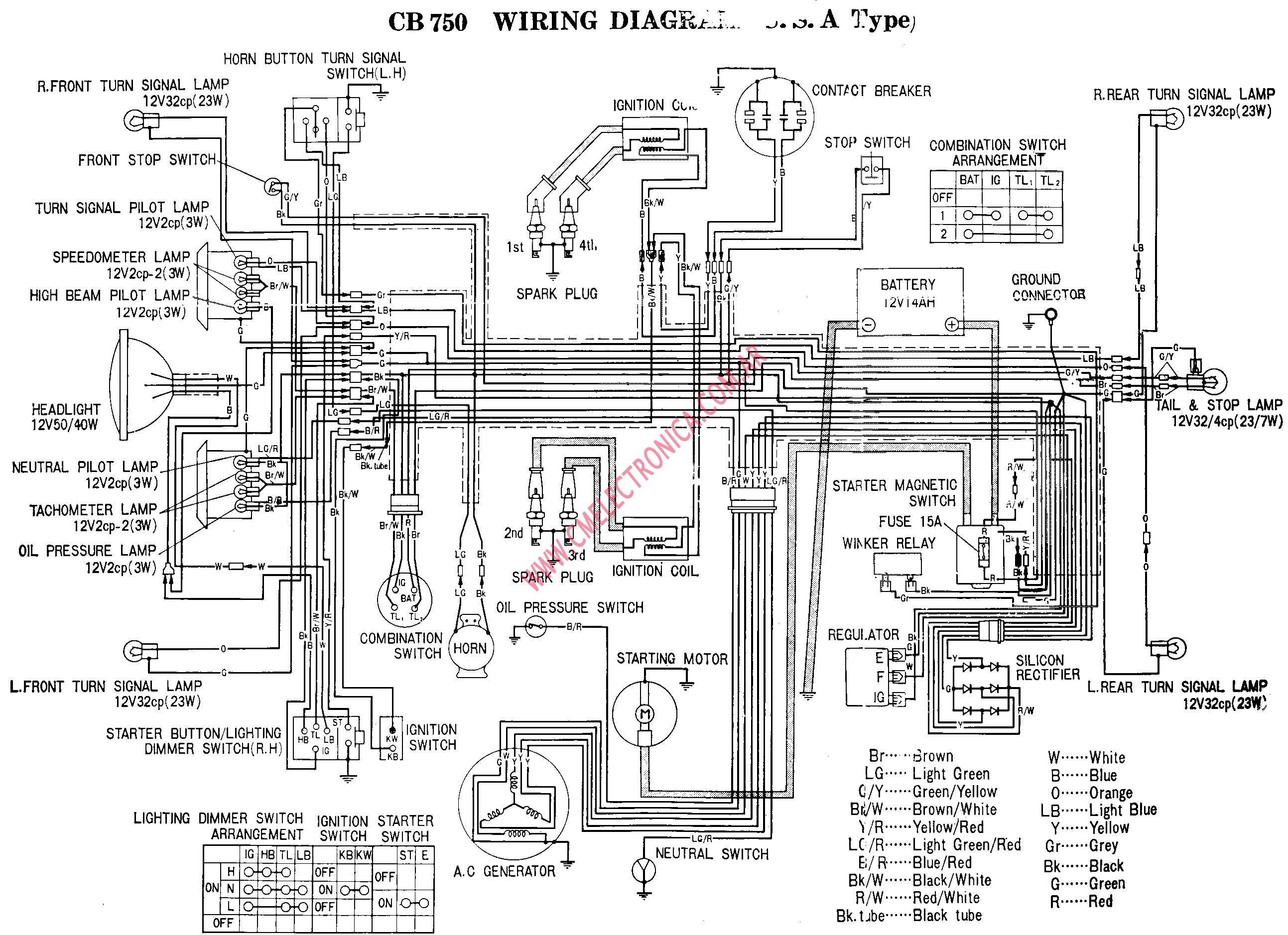 1970 honda cb 750 diagrama de cableado