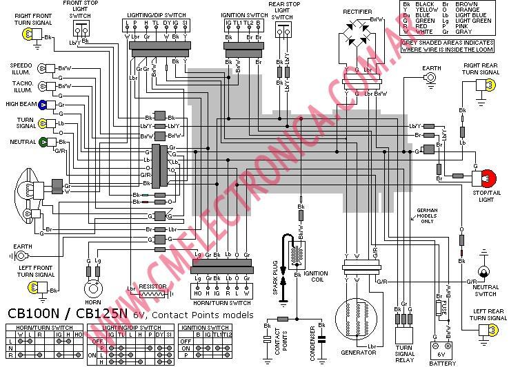Diagrama honda loom cb100n cb125n points 6v