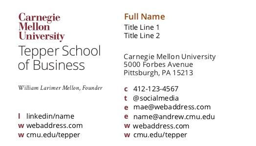 Business Cards - Office of Tartan Ink - Carnegie Mellon University