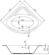 55 inch large corner bathtub - 1400mm
