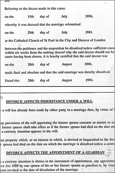 CNN - Text of Charles and Diana\u0027s divorce decree - August 28, 1996