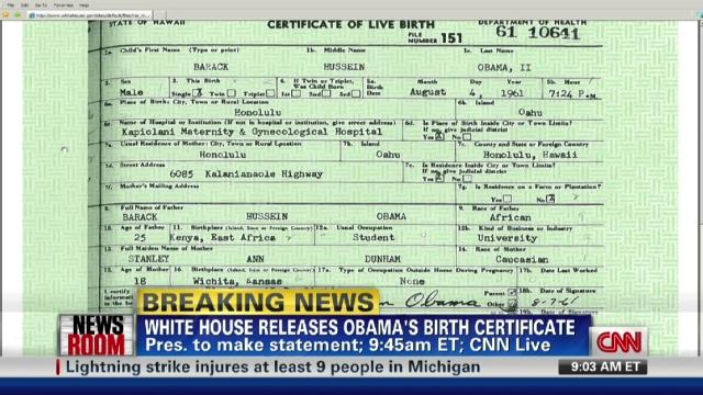 Obama releases original long-form birth certificate - CNN - birth certificate