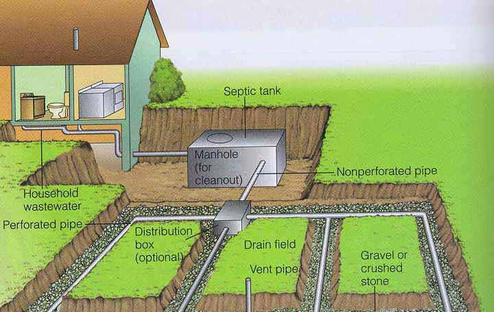 The Drainfield - septic tank layout