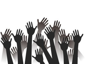 black hands raised silhouettes with copy space background