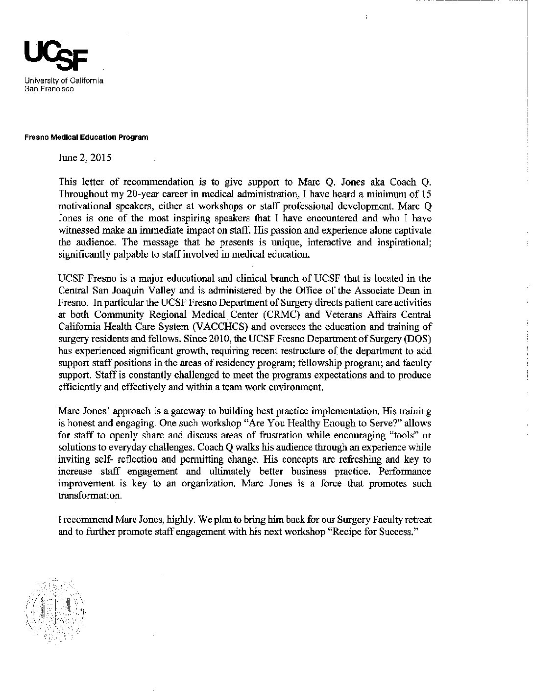 university of san francisco recommendation letter