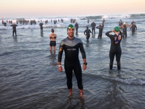 Matt on the beach before the start of a triathlon