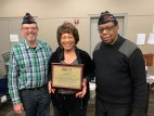 Connie Edwards between CVO Treasurer and Past Chair Bruce Parry and CVO Chair Willie Mack receiving long over-due recognition of her extraordinary service to CVO.