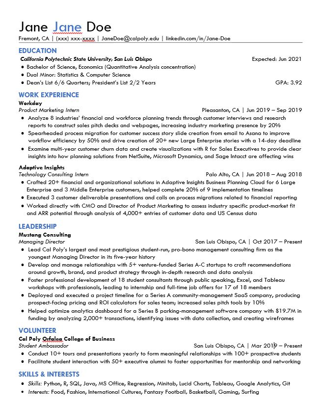 editing resume example