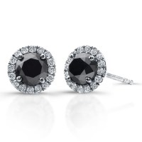 3/4 Ct Black Diamond Stud Earrings with Halo