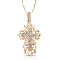 14k Rose Gold Diamond Cross Filigree Design Necklace