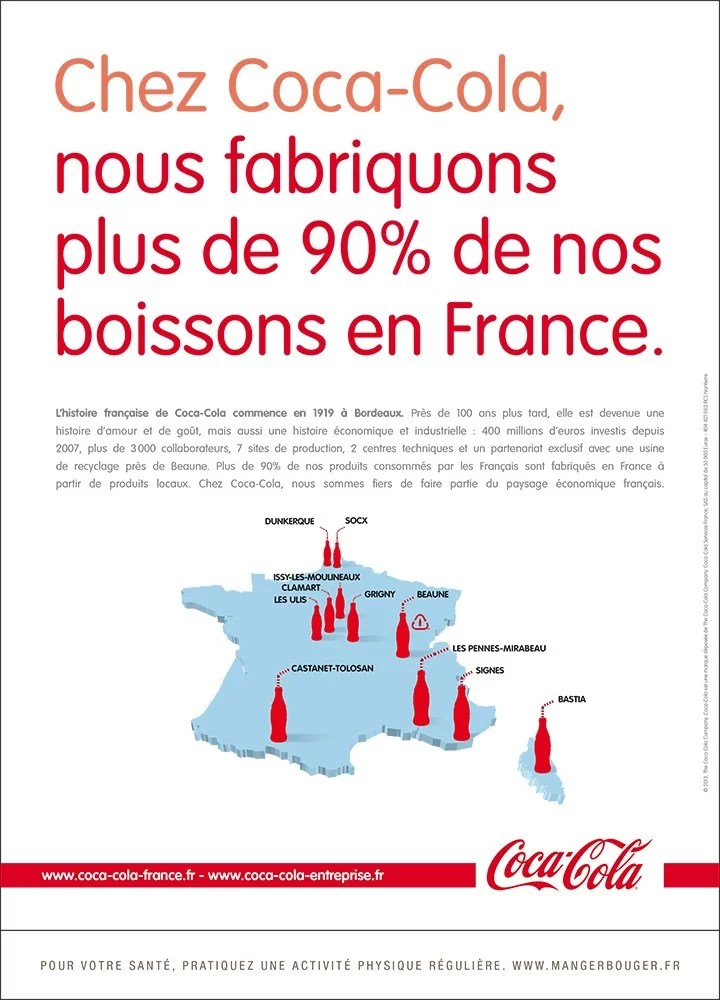 Coca-Cola fabrique 90% de ses boissons en France