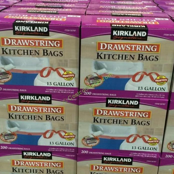 Kirkland Signature 13 Gallon White Drawstring Kitchen Bag 200 ...