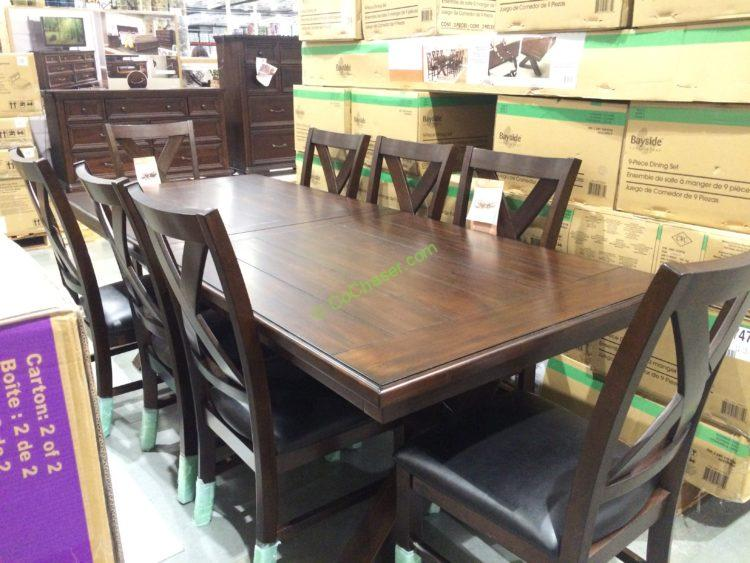 Bayside Furnishings 9PC Dining Set Model# 0078-A & Universal Broadmoore 9PC Dinning Set Model M4275 \u2013 CostcoChaser
