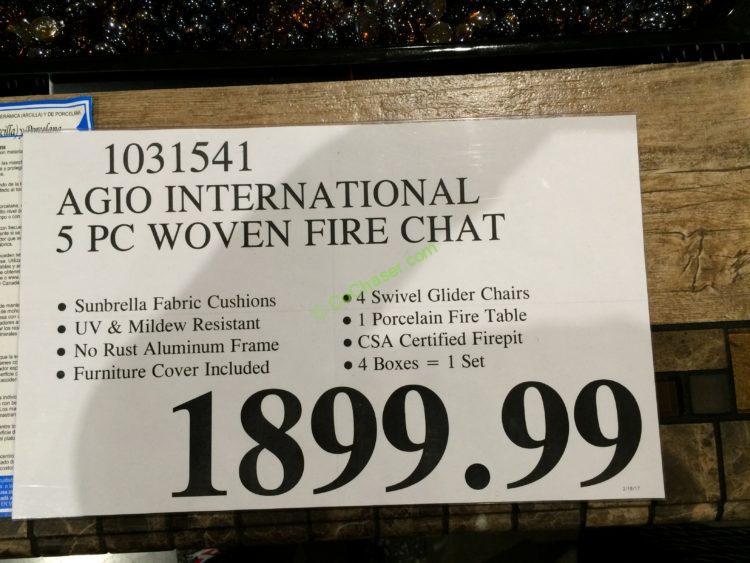Agio International 5 Pc Woven Fireplace Chat Set