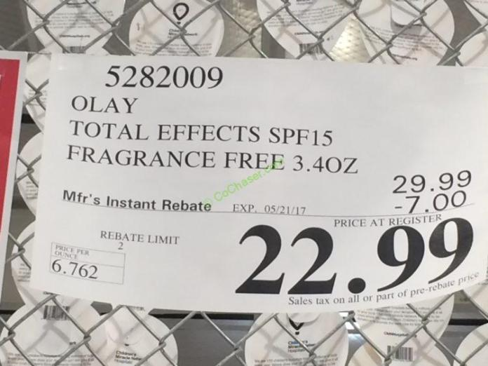 Costco-5282009-Olay-Total-Effects-SPF-15-tag