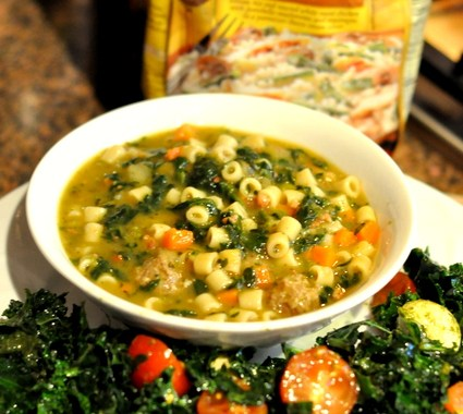Bertolli Italian Wedding Soup with Kale Caprese Salad