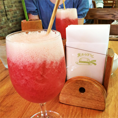 """www.cocoandme.com - Coco&Me - Coco and Me - The Straw Hat Cafe at the Ghibli Museum, Tokyo - 『真っ赤なルバーブのさわやかスカッシュ』Rhubarb puree soda. With a """"straw"""" straw, nice little touch, since the restaurant is called """"straw hat""""."""